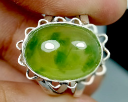 Natural Green Nephrite Jade 925 Sterling Silver Ring