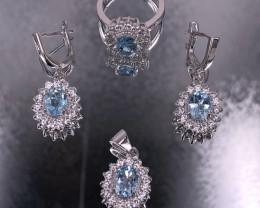 Blue Topaz Set 925 Silver by DANI Jewellery