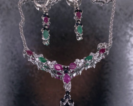 Ruby Emerald Sapphire 925 Silver Necklace Set by DANI Jewellery