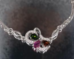 Natural Tourmaline 925 Silver Bracelet/Anklet  by DANI Jewellery