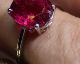 Red Tourmaline 5.00ct or Rubellite Solid 18K White Gold Solitaire Ring