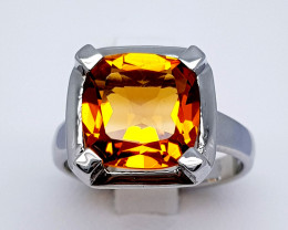 20 Carats Natural Madeira Citrine 925 Silver Ring Gemstone C03