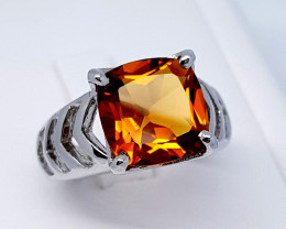 30 Carats Natural Madeira Citrine 925 Silver Ring Gemstone C04
