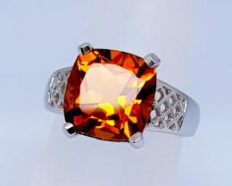 19 Carats Natural Citrine 925 Silver Ring Gemstone C5