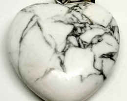 Natural Haolite Heart Shape Pendant With Stainless Steel Bale