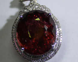 Red Tourmaline 32.00ct and Natural Diamonds Solid 18K White Gold Pendant