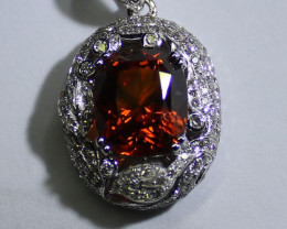 Spessartine Garnet 6.40ct Natural Diamonds Solid 18K White Gold Pendant