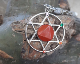 Natural Red Jasper 32. 95 Ct. in Stainless Steel Nice Pendant By DANI JEWEL