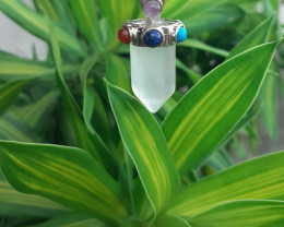 Natural White  Quartz Pendant With 7 Different  Stone by DANI Jewellery
