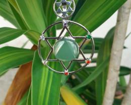 Natural Aventurine & 7  Beautiful Diff Color Zircon Pendant  by DANI Jewel