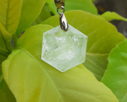 Natural White Quartz Pendant 54.71 Ct. in Stainless Steel By DANI JEWELLERY