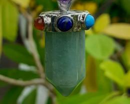 Chakra Pendant Natural Aventurine & 7 Natural Stone  62.82  Ct by DANI Jewe