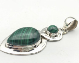 40.71 Crt Natural Malachite 925 Silver Pendant