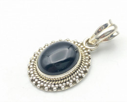 17.51 Crt Natural Black Onyx 925 Silver Pendant