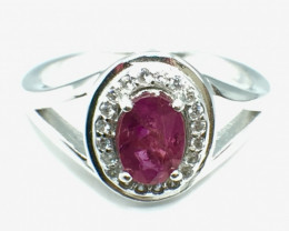 0.80 Ct Ruby Unheated Mozambiq Quality Silver 925 Ring. (DZR 08)