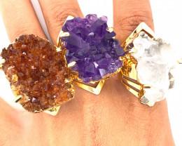 3 x Raw High Grade Druzy Gemstone Golden Ring - BR 1289