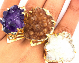 3 x Raw High Grade Druzy Gemstone Golden Ring - BR 1290