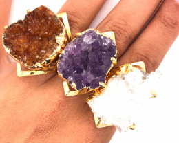 3 x Raw High Grade Druzy Gemstone Golden Ring - BR 1291