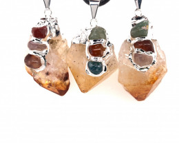 3 x Parcel Terminated Point Crystal Chakra citrine Pendant - BR 1297