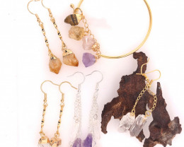 Raw Gemstone Jewelry Set - 5 Pieces - BR 1305