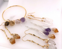Raw Gemstone Jewelry Set - 5 Pieces - BR 1306