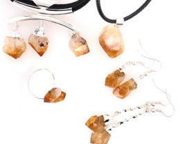 CITRINE JEWELRY SET - 5 Pieces Terminated point - BR 1328