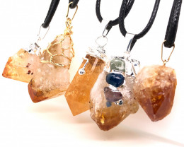 Parcel 5 x Citrine Lovers Terminated point Pendants - BR 1333