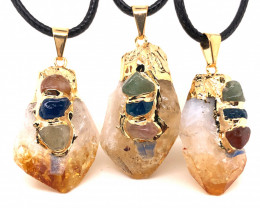 3 x Citrine Chakra Lovers Terminated point Pendants - BR 1339