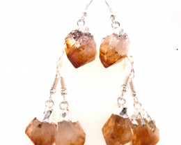 3 x Raw Beautiful Citrine Earrings Lovers - BR 1348