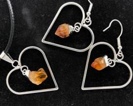 Heart Design Citrine Raw Set Earrings & Pendant - BR 1356