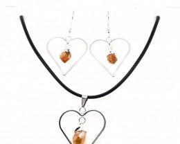 Heart Design Citrine Raw Set Earrings & Pendant - BR 1357