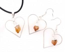 Heart Design Citrine Raw Set Earrings & Pendant - BR 1358