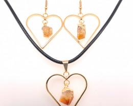 Heart Design Citrine Raw Set Earrings & Pendant - BR 1361