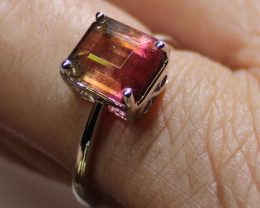 Watermelon Tourmaline 3.31ct Solid 18K White Gold Solitaire Ring