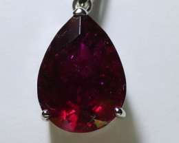 Red Tourmaline 10.00ct or Rubellite Solid 18K White Gold pendant