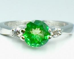 1.00 Ct Natural Tsavarite Garnet Beautifulist Silver 925 Ring. DTS 53