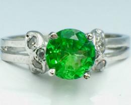 0.90 Ct Natural Tsavarite Garnet Beautifulist Silver 925 Ring.DTS 55