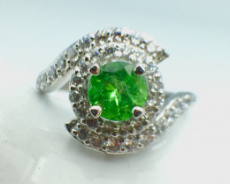 0.90 Ct Natural Tsavarite Garnet Beautifulist Silver 925 Ring.DTS 56