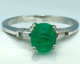 0.65 Ct Natural Emerald Gemstone. Silver 925 Ring.DEM 60