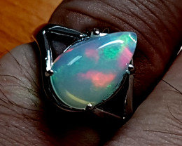 Natural Fire Opal 925 Sterling SIlver Ring (NJT80)