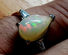 16.65 Carats Natural Fire Opal 925 Silver Ring Gemstone O79