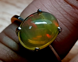 Natural Fire Opal 925 Sterling SIlver Ring (NJT76)