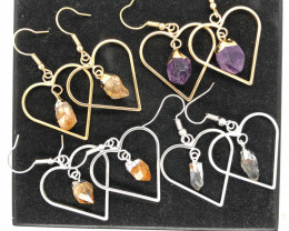 4 x Heart Shape Design Raw Gemstone Earrings - BR 1371