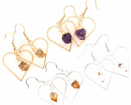 4 x Heart Shape Design Raw Gemstone Earrings - BR 1372