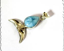 Excellent Natural Sky Blue Larimar .925 Sterling Silver Fin Whale Pendant 1