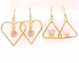 Raw Tumbled Stone Earrings