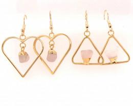 2 x Rose Quartz Lovers Tumbled Gemstone Earrings - BR 1374