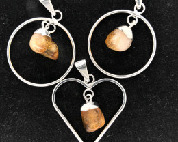 3 x Tumbled Citrine Mixed Shapes Pendants - BR 1381