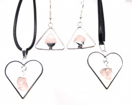 Set Rose Quartz Lovers Tumbled Gemstone - BR 1383