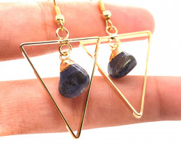 Holystic Triangle Design Tumbled Sodalite Set Earrings & Pendant - BR 1394